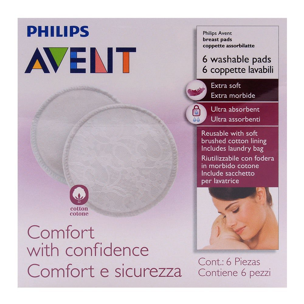 PHILIPS AVENT 6 WASHABLE REUSABLE BREAST PADS EXTRA SOFT INCLUDING LAUNDRY BAG