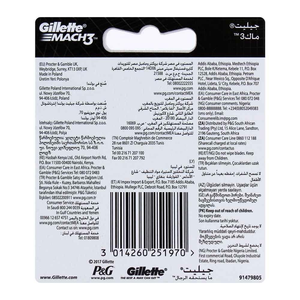 Gillette Mach3 Cartridges, Razor Blades, 2-Pack