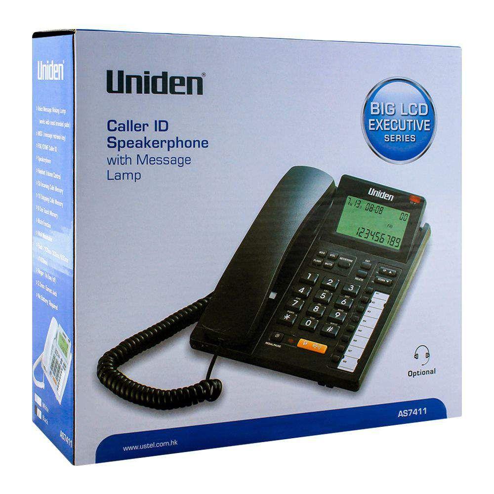Uniden Executive Series Caller ID Speakerphone, Black, AS7411