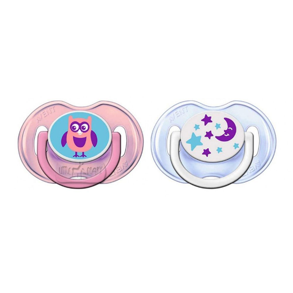 Philips Avent BPA Free Orthodontic Soft Silicone Pacifiers 2 Ct 0-6m Pink//White