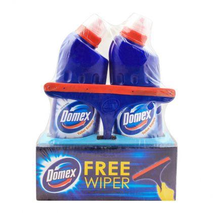 Domex Original Toilet Cleaner Expert Blue, 2x500ml, Free Wiper