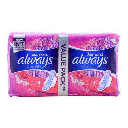 Always Diamond Ultra Thin Long 7+7 Pads Value Pack