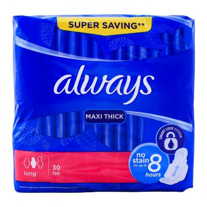 Always Maxi Thick Pads, Long, 30-Pack