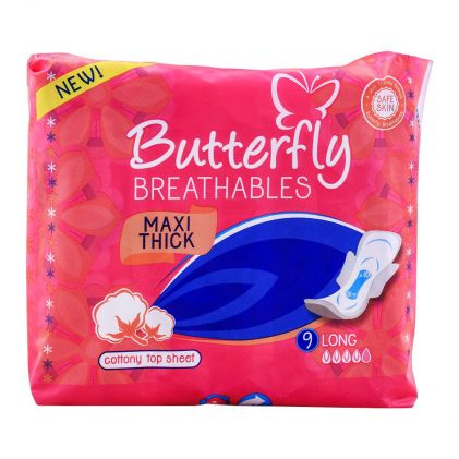 Butterfly Breathables Maxi Thick Pads, Long, 9-Pack
