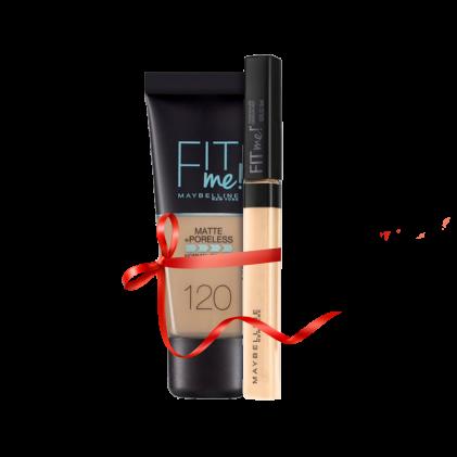 Maybelline Fit Me Liquid Foundation Matte & Poreless 120 Classic Ivory + Concealer 20 Sand