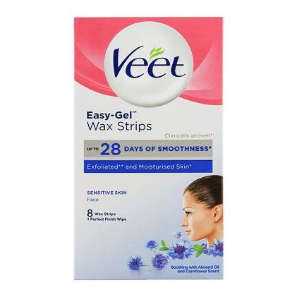 Veet Easy-Gel Face Wax Strips, For Sensitive Skin, 8-Pack