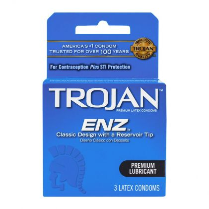 Trojan ENZ Premium Lubricant Latex Condoms, 3-Pack