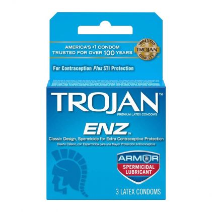 Trojan ENZ Spermicidal Latex Condom, 3-Pack