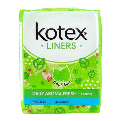 Kotex Daily Aroma Fresh Liners, Daun Sirih Scented, Regular, 40-Pack