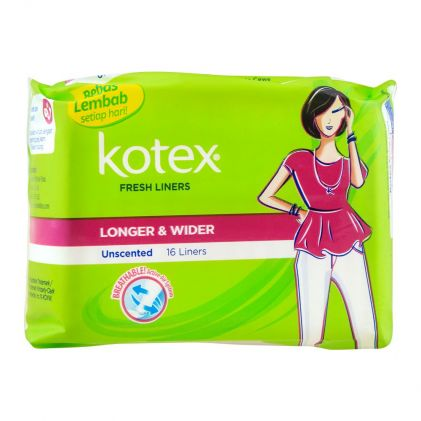 Kotex Fresh Liners, Unscented, Longer & Wider, 16-Pack