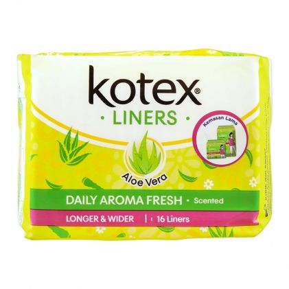 Kotex Daily Aroma Fresh Liners, Aloe Vera Scented, Longer & Wider, 16-Pack