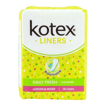 Kotex Daily Fresh Liners, Unscented, Longer & Wider, 32-Pack