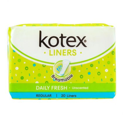 Kotex Daily Fresh Liners, Unscented, Longer & Wider, 20-Pack