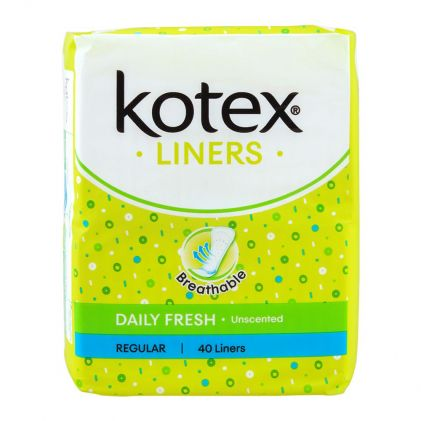 Kotex Daily Fresh Liners, Unscented, Longer & Wider, 40-Pack
