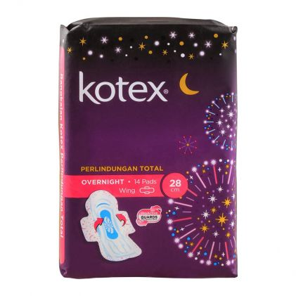 Kotex Total Protection Over Night Wing Pads, 28cm, 14-Pack