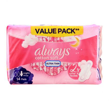 Always Night Cotton Soft Ultra Thin Extra Long Wings Pads, 14 Pads Value Pack