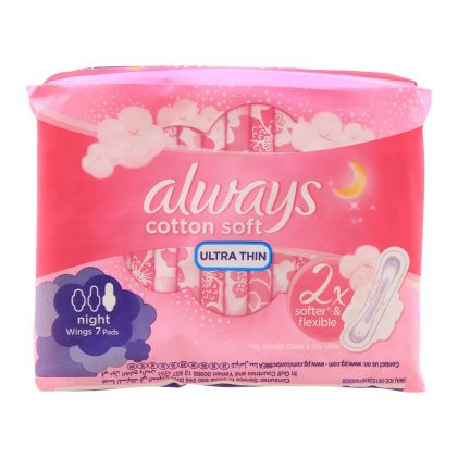 Always Night Cotton Soft Ultra Thin Extra Long Wings Pads, 7 Pads