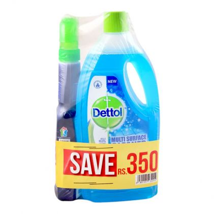 Dettol Multi Surface Cleaner, Aqua, 2x 1 Litre, + FREE Bathroom Cleaner, Save Rs. 350