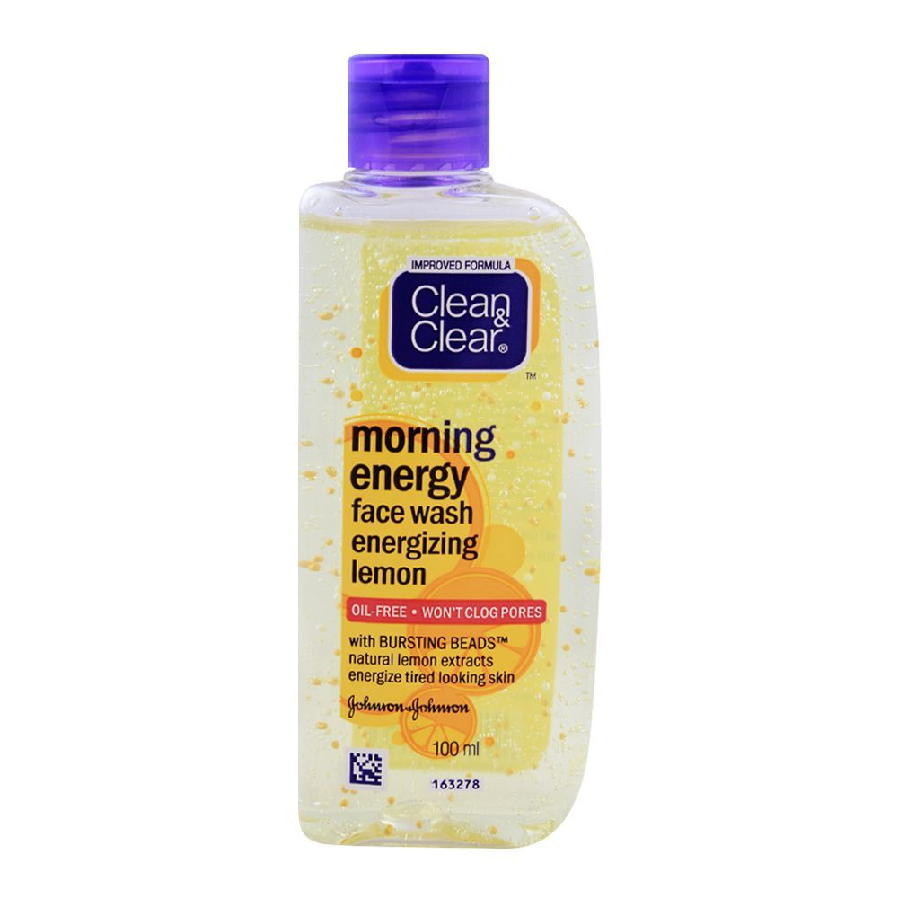 Clean & Clear Morning Energy Face Wash, Energizing Lemon, Oil Free, 100ml