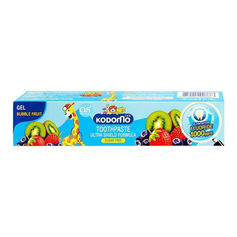 Kodomo Ultra Shield Formula Sugar Free Gel Toothpaste, Bubble Fruit, 40g
