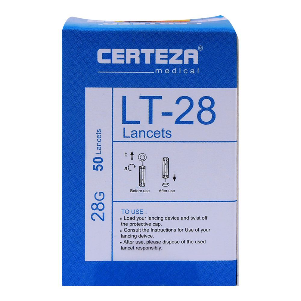 Certeza Lancets, 28G, 50-Pack, LT-28