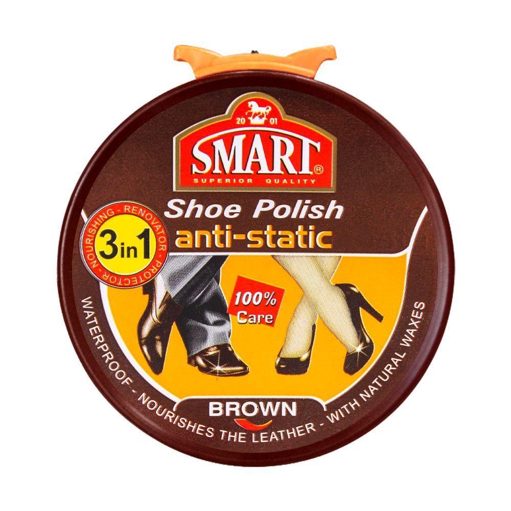 Smart 3-In-1 Shoe Polish Anti-Static, Brown, 50ml