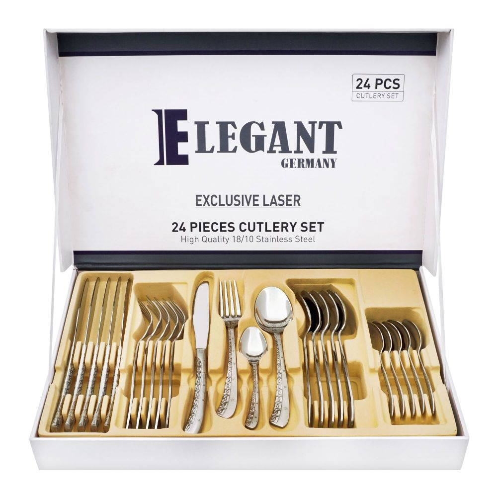 Elegant Exclusive Laser Stainless Steel Cutlery Set, 24 Pieces, AA0010S