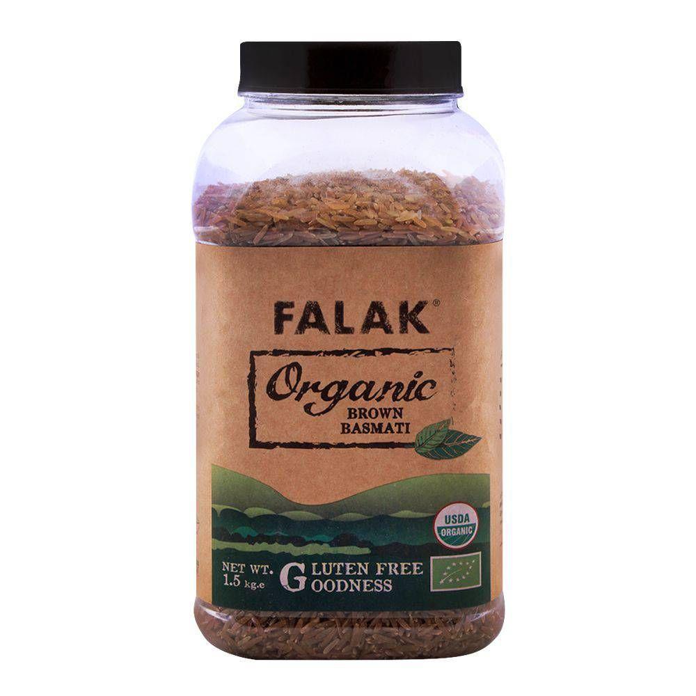 Falak Organic Brown Basmati Rice 1.5 KG Jar