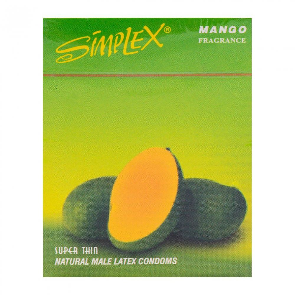 Simplex Mango Super Thin Natural Male Latex Condoms 3-Pack