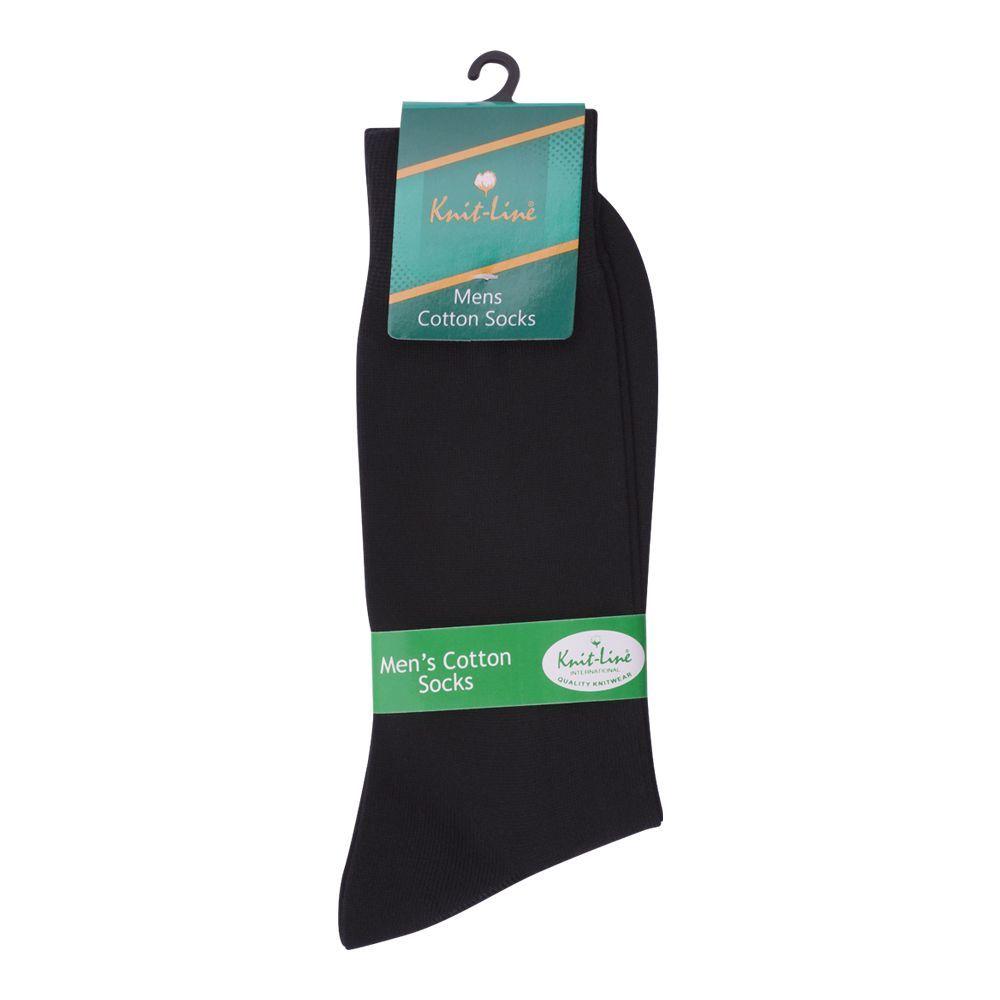 Knit Line Men's Cotton Socks, Black