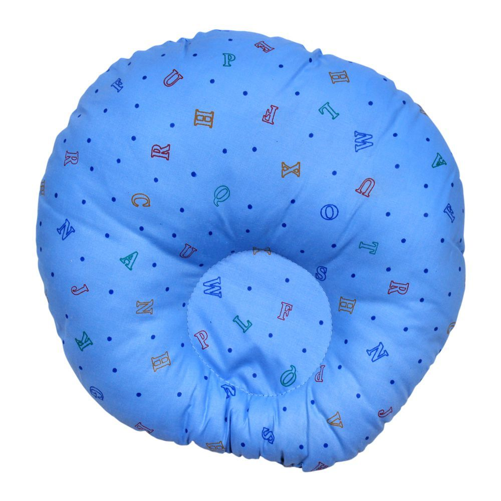 Angel's Kiss Round Baby Pillow, Blue