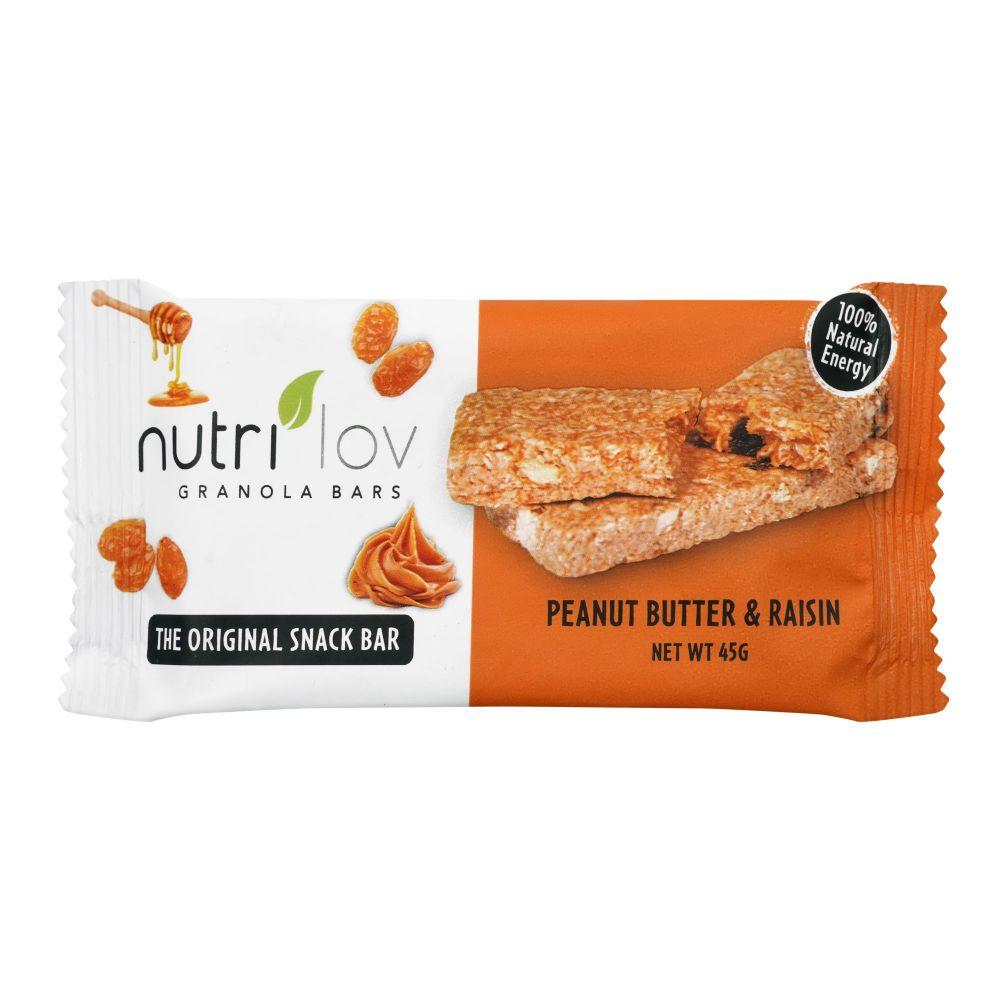 Nutri Lov Granola Bars, Peanut Butter & Raisin, Instant Protein, 45g