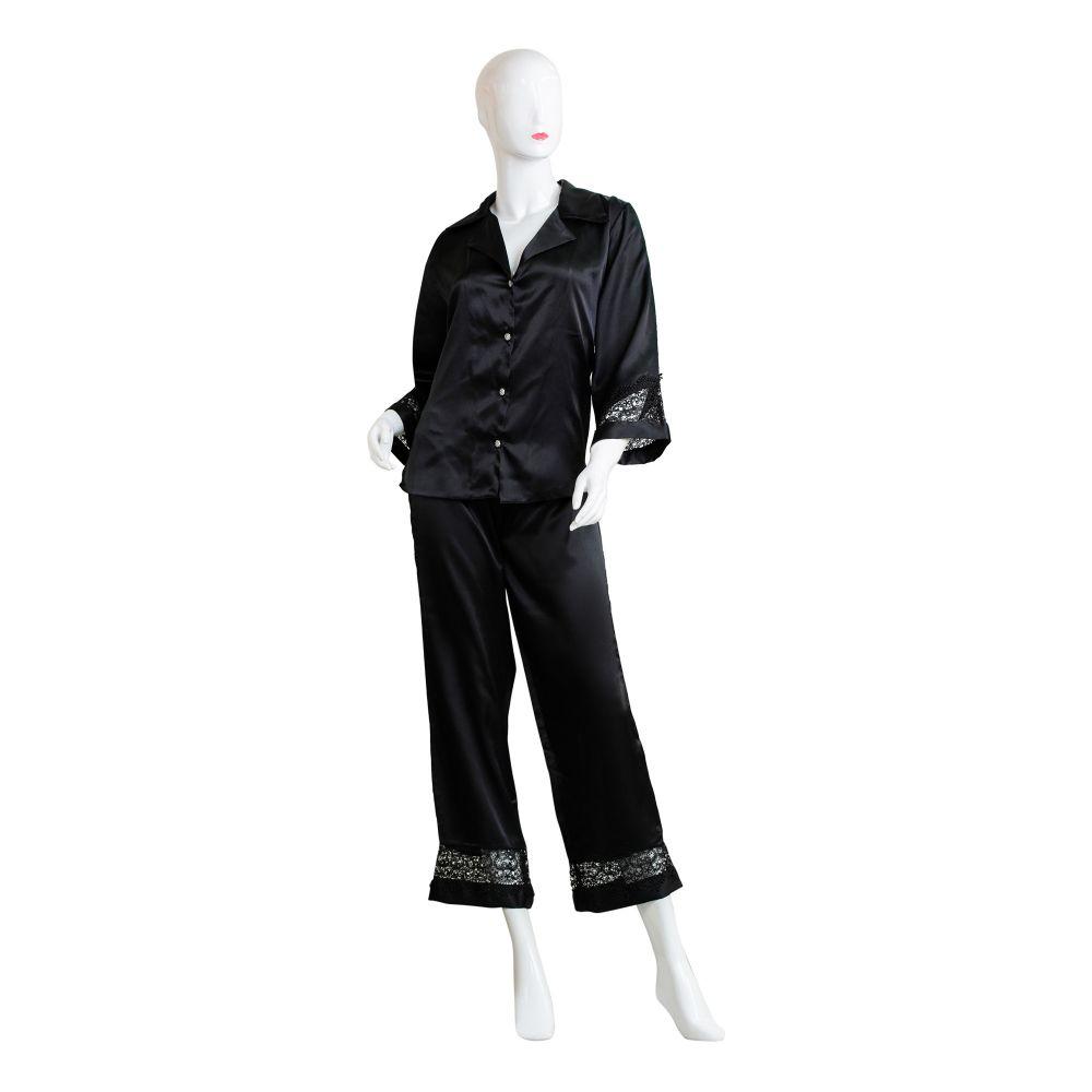 Moon Girl Women Pajama Suit, Black, 1101