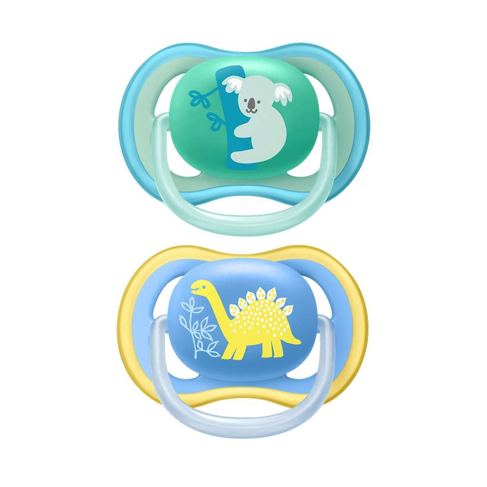 Avent Ultra Air Sensitive Skin Soothers, 2-Pack, 18m, Blue/Green, SCF349/10