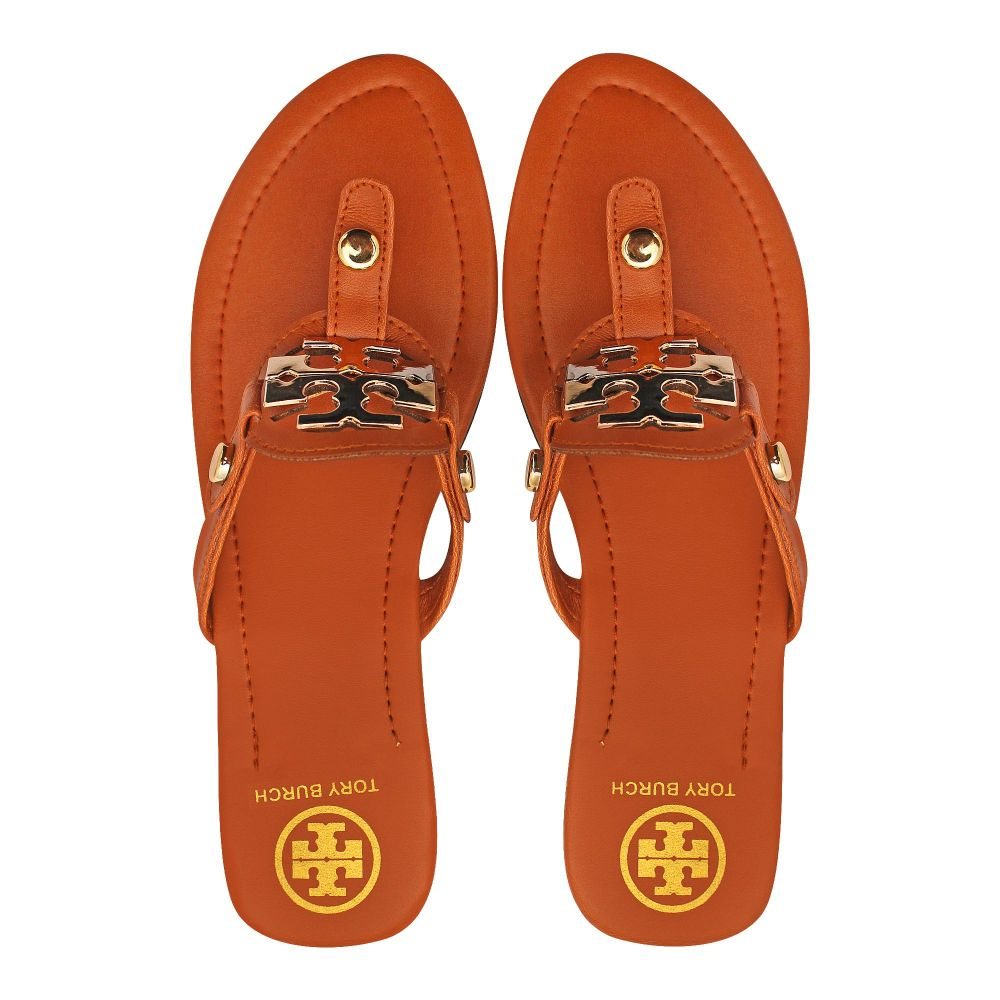 Tory Burch Style Women's Slippers, Brown