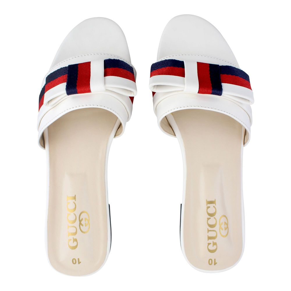 Gucci Style Women's Slippers, White