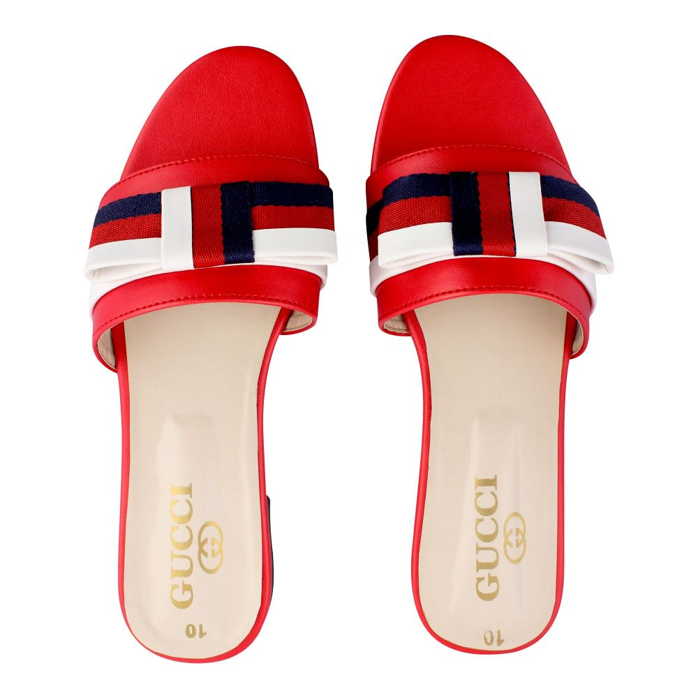 Gucci Style Women's Slippers, Red