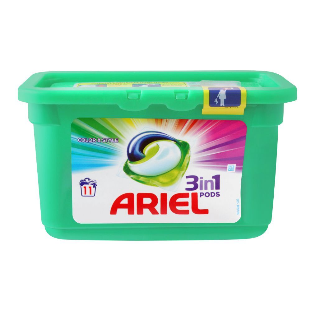 Ariel 3-In-1 Liquid Pods, Colour & Style, 11x27, Washing Capsules, 297g