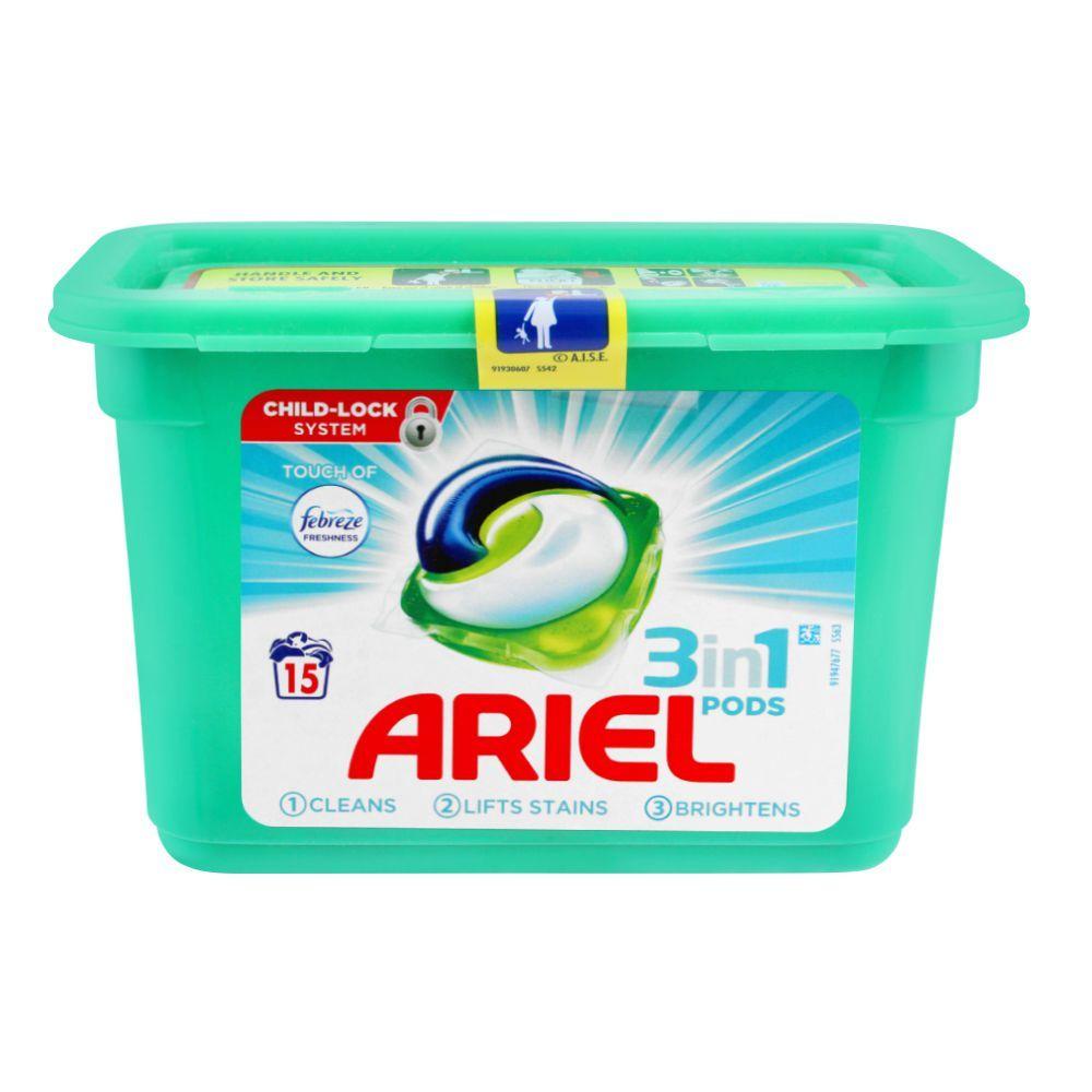Ariel 3-In-1 Liquid Pods, Febreze, 15x27, Washing Capsules, 405g