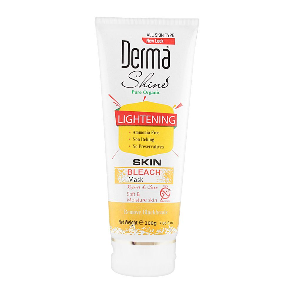 Derma Shine Pure Organic Lightening Skin Bleach Mask, For All Skin Types, 200g