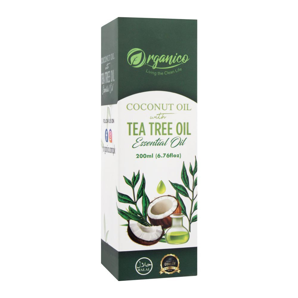 Organico Coconut Oil With Tea Tree Oil Essential Oil, 200ml
