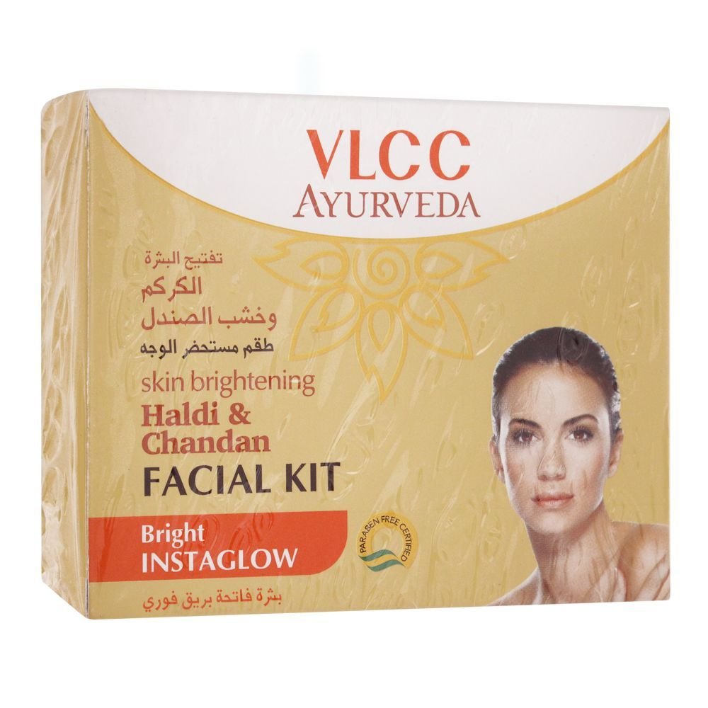 VLCC Ayurveda Bright Instaglow Haldi & Chandan Facial Kit, 50g