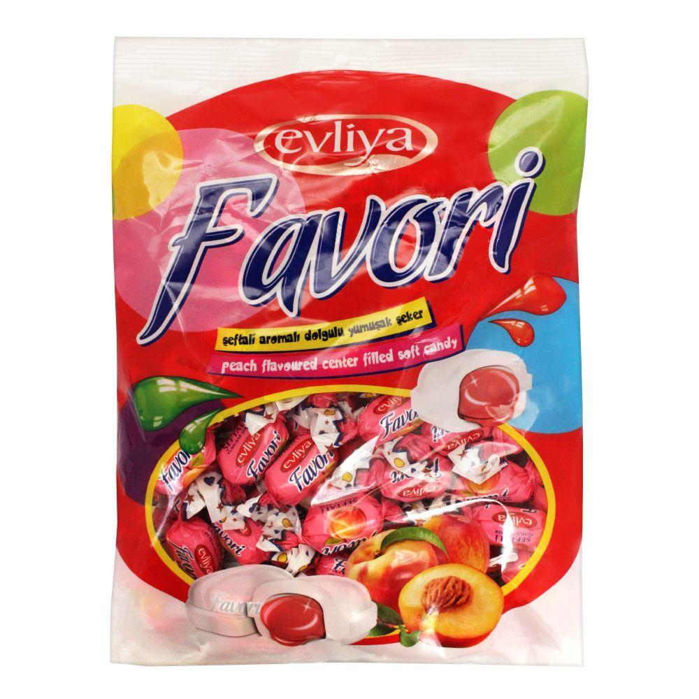 Evliya Favori Peach Flavoured Center Filled Soft Candy, Pouch, 350g