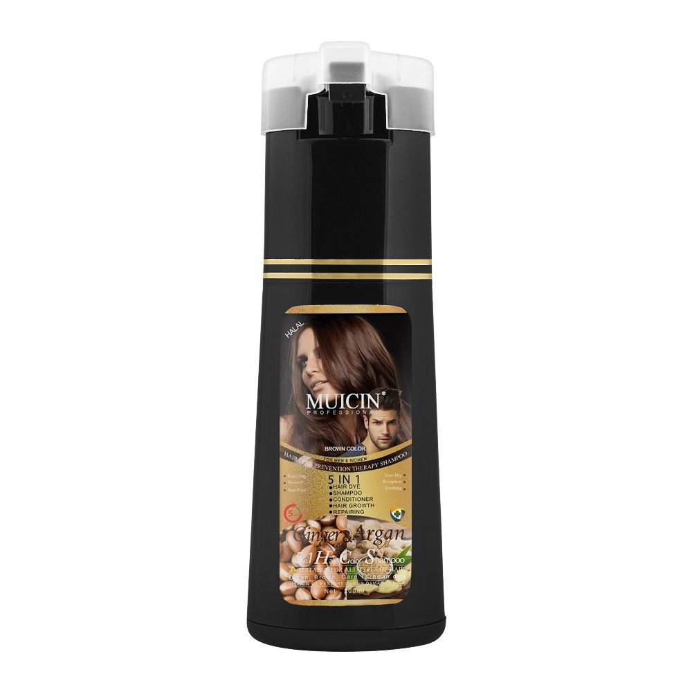 Muicin 5-In-1 Ginger & Argan Hair Dye + Shampoo + Conditioner, Brown, 200ml