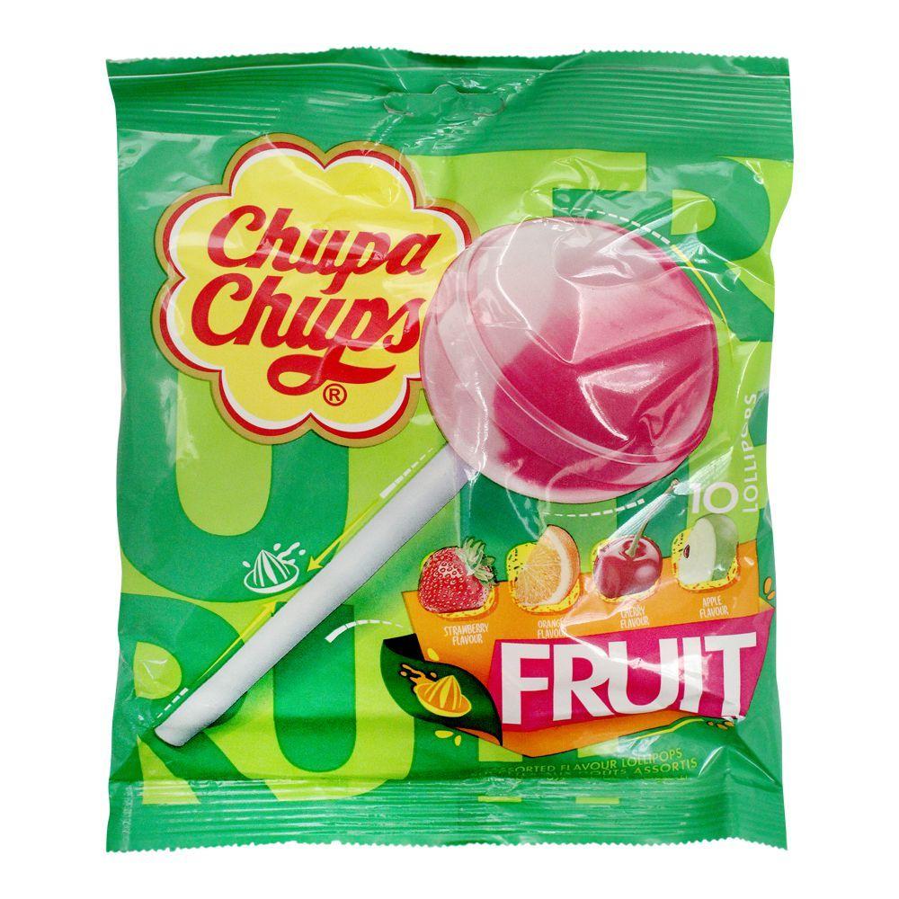 Chupa Chups Assorted Fruit Flavour Lollipops, 10 Pieces, 120g