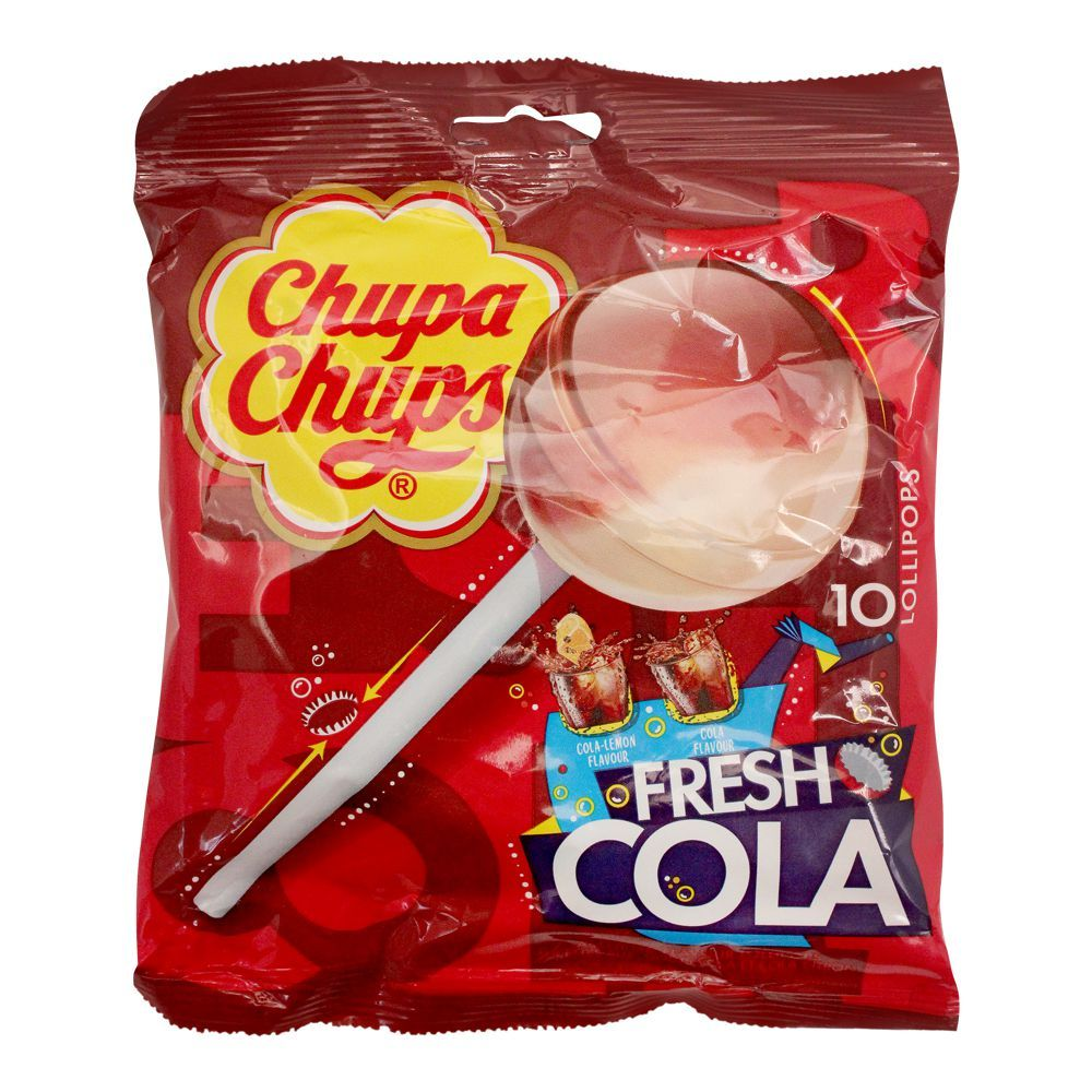 Chupa Chups Fresh Cola Flavour Lollipops, 10 Pieces, 120g
