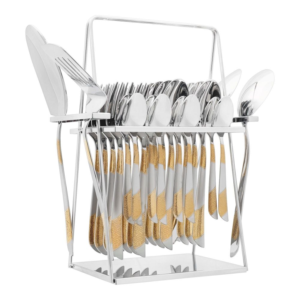 Elegant Line Text Stainless Steel Cutlery Set, 28 Pieces, EE28GS-13