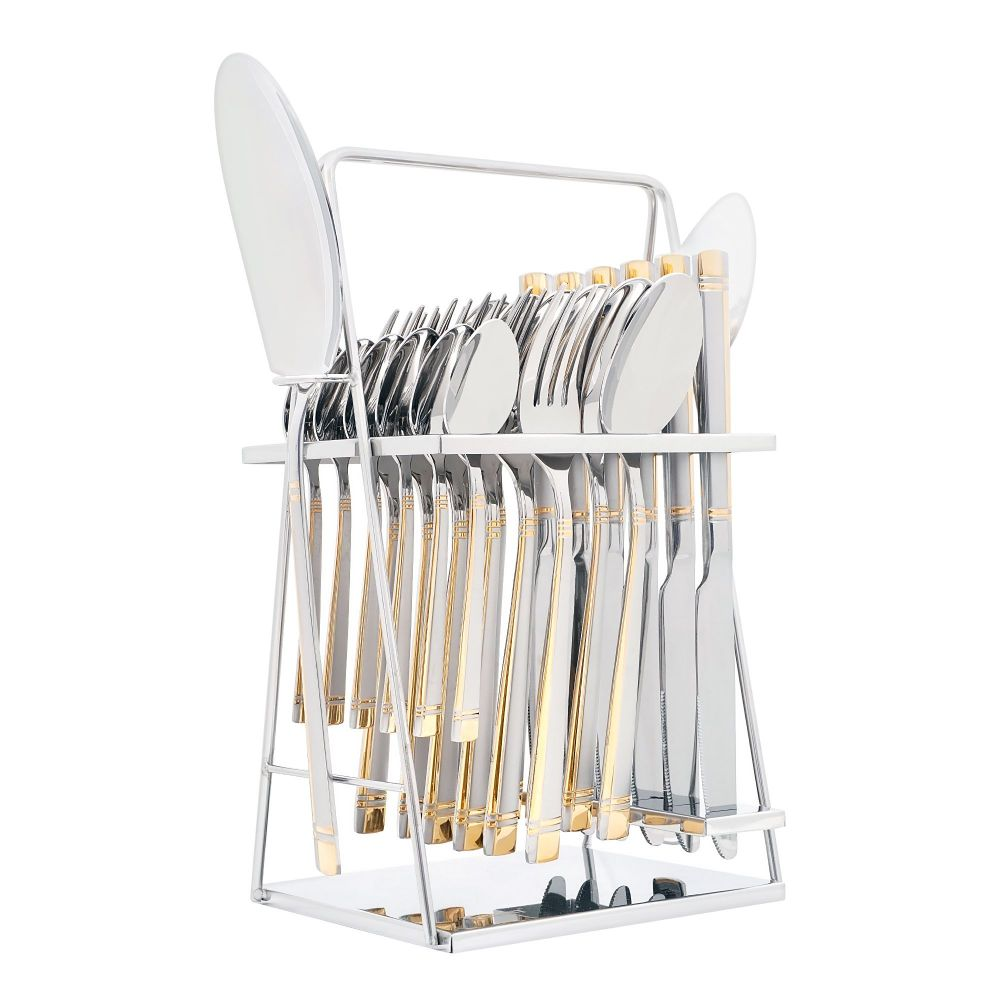 Elegant Stainless Steel Cutlery Set, 26 Pieces, FF26GS-07