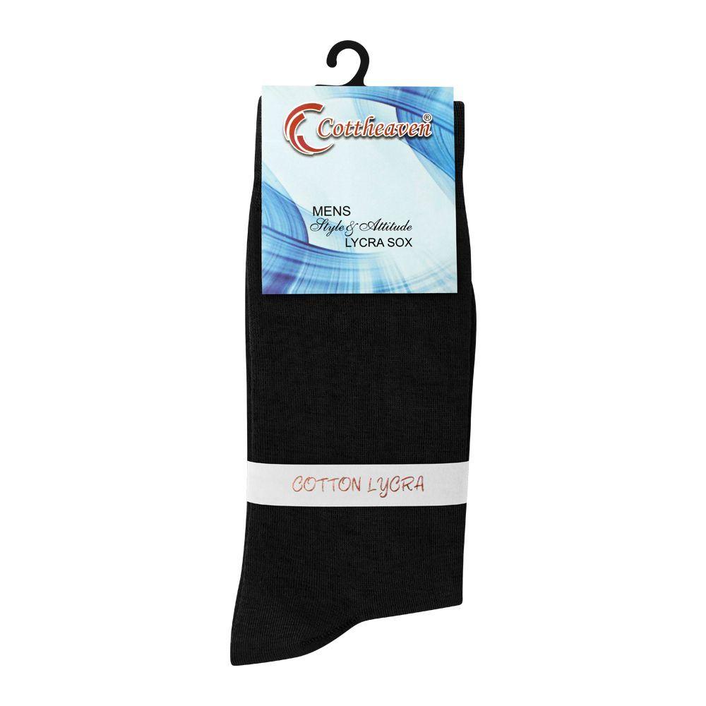 Cottheaven Men's Cotton Lycra Socks, Black