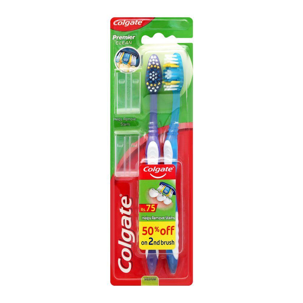 Colgate Premier Clean Toothbrush, Medium, 2-Pack